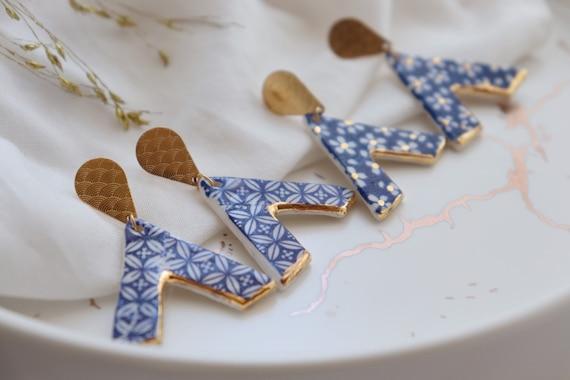 Blue prints  Alpha shape dangle earrings