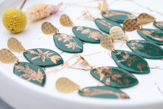 Green golden plants porcelain dangle earrings