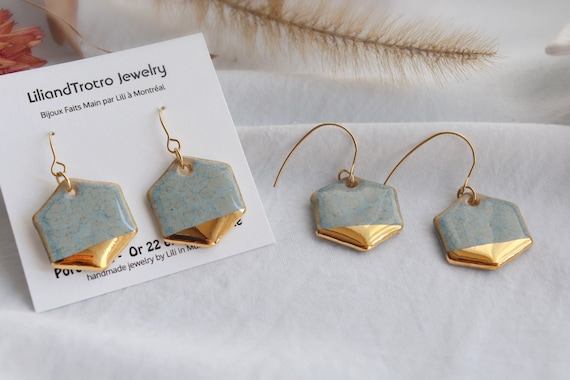 Hexagon Grey gold dipped hexagon dangle earrings, gift for her, one of the kind, porcelain