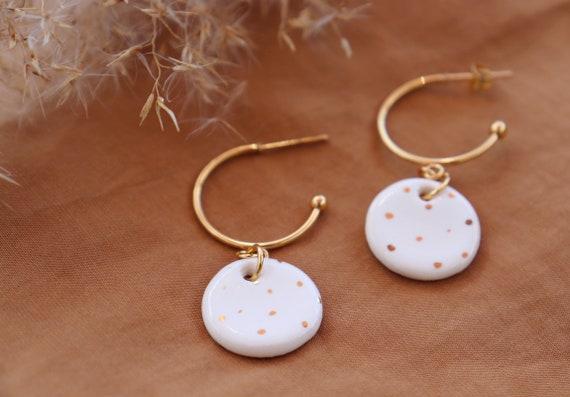White porcelain pendant earrings