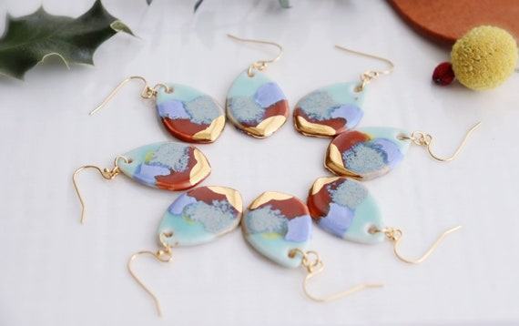 Sarah Multi glazed porcelain  dangle earrings