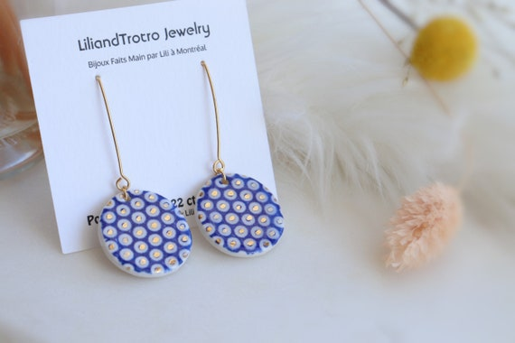 Blue dots porcelain Dangle Earrings