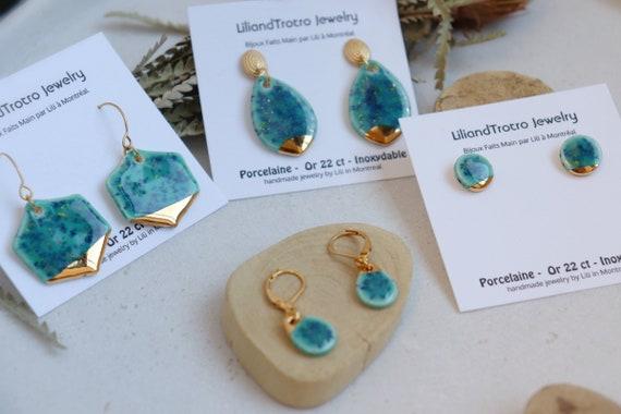 Great barrie cliff inspired  porcelain dangle earrings