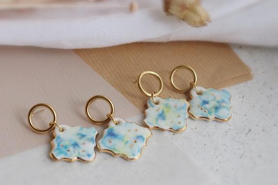 Green/blue pattern Hexagon porcelain dangle earrings