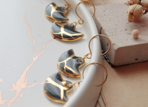 Kintsuji inspired porcelain dangle earrings