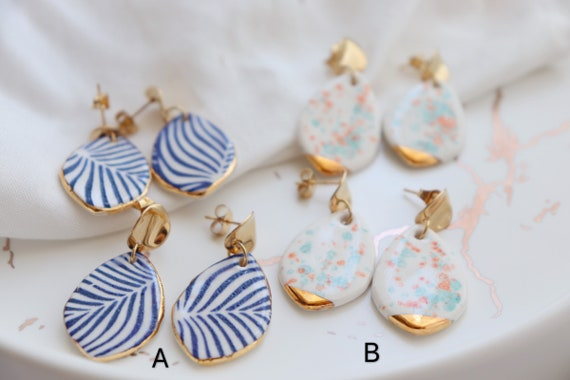 Blue zebra lines/  speckles  teardrop porcelain earrings