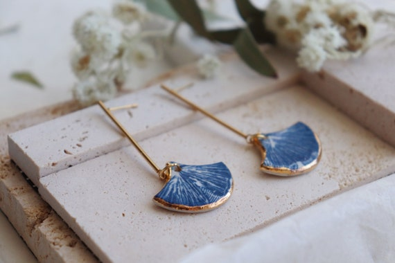 Blue /green Ginkgo porcelain  earrings
