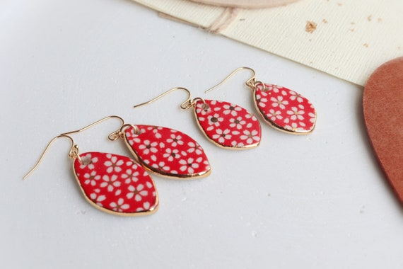 Red Daisies teardrop shaped porcelain dangle  earrings