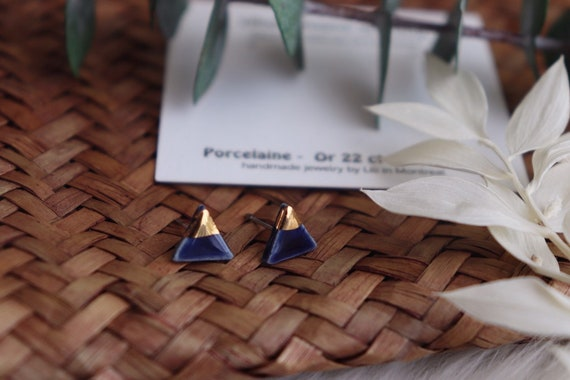 Mini triangle Gold dipped porcelain studs /22kt gold luster