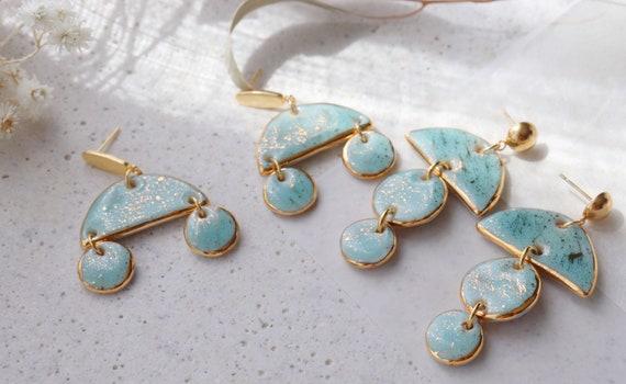 Turquoise Chandelier porcelain earrings