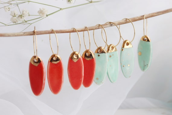 Red Chili / Mint surfboard shaped porcelain earrings
