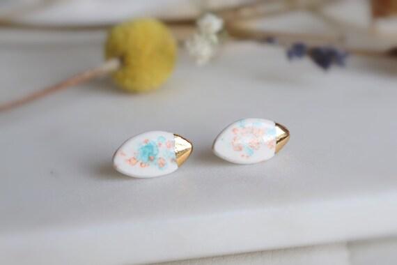 Dainty ellipsis water color pattern porcelain studs