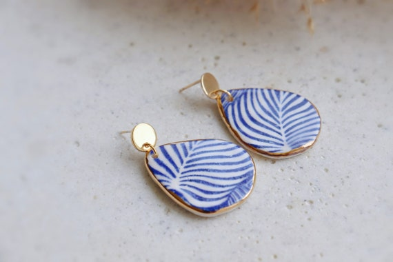 Blue zebra lines porcelain earrings
