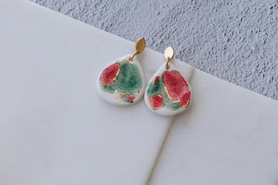 Watermelon color porcelain dangle earrings