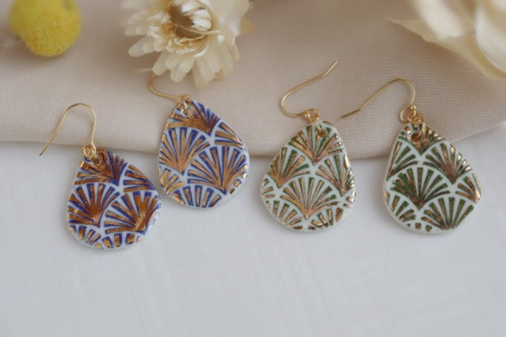 Blue/ Green scallop patterned porcelain earrings