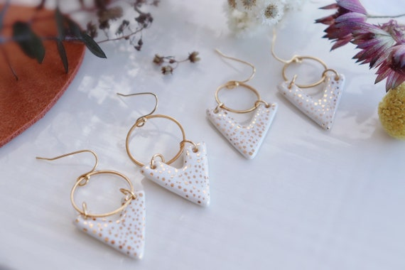 White gold dots V shaped porcelain dangle earrings