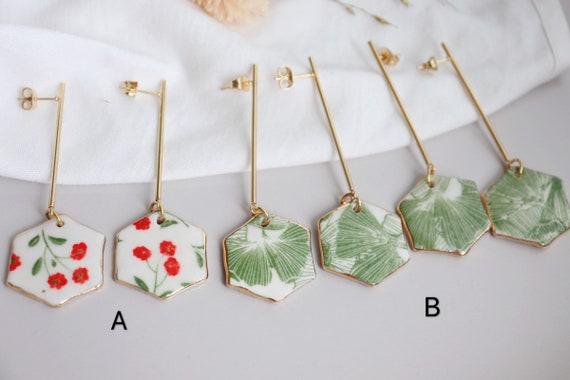 Hexagon long bars  porcelain dangle earrings