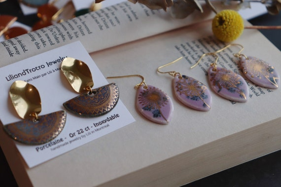Lavender glazed golden flowers  porcelain earrings ( newest batch)