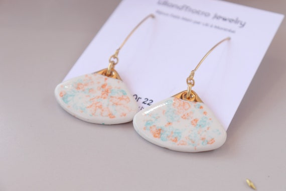 Fan shaped cells pattern Dangle porcelain Earrings