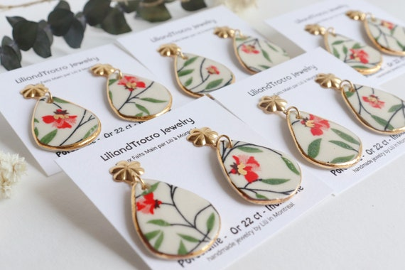 Red floral/plants  porcelain earrings