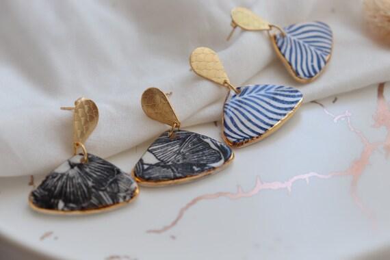 Black Ginkgo / Blue zebra lines porcelain dangle earrings