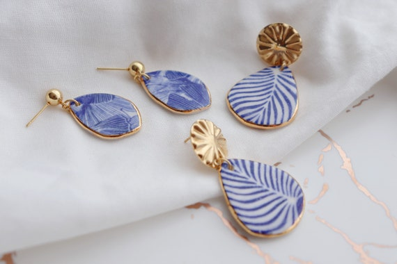 Blue Ginkgo/ Zebra lines porcelain dangle earrings