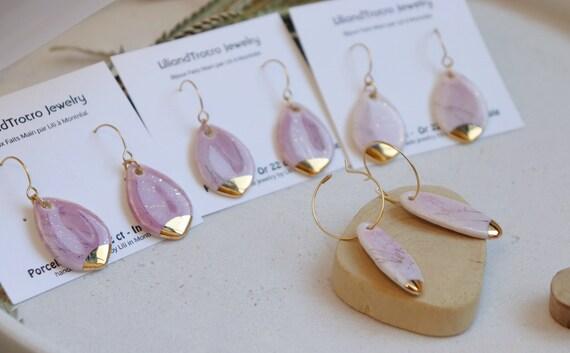 Pink gold splashed teardrop  porcelain dangle earrings