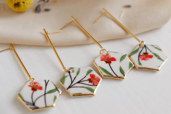 Hexagon shaped floral porcelain earrings