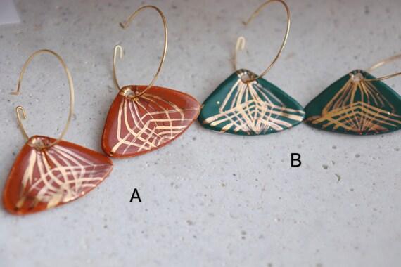 Gold lines Fan shaped Porcelain earrings