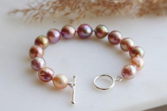 Natural Japanese Kasumiga pearl silver bracelet