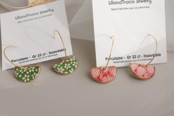 green / red Demi circle  porcelain dangle earrings