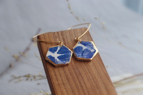 Hexagon Ginkgo leaves gold rim Dangle porcelain Earrings