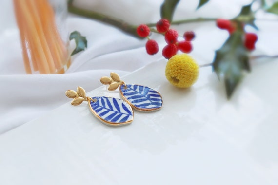 Blue leaves porcelain earrings