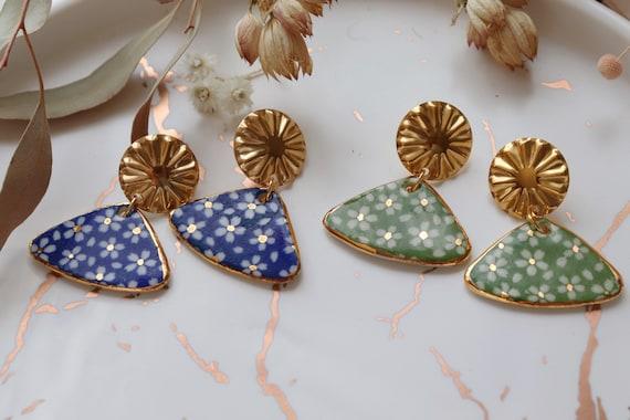 Blue/green  Daisies fan shaped porcelain dangle  earrings