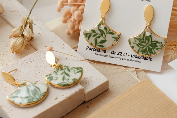Fan shaped  floral porcelain dangle earrings
