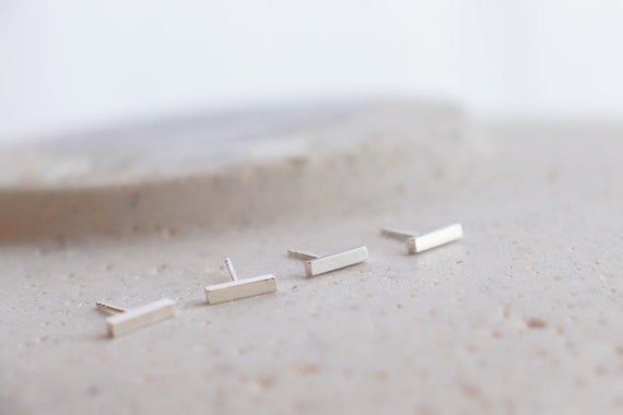 Minimal silver bar studs