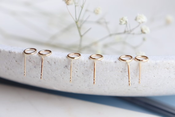 Solid yellow gold studs