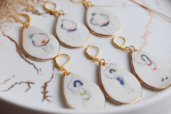 Dominatrices on the way handpainted porcelain dangle earrings
