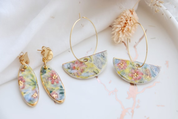Hand painted watercolor Dangle porcelain earrings