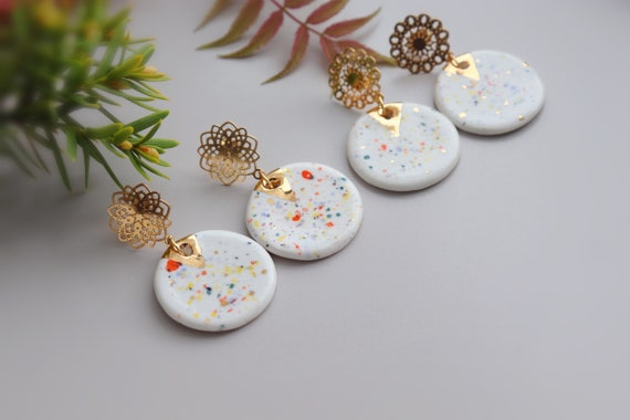 Confetti dots porcelain Dangle Earrings