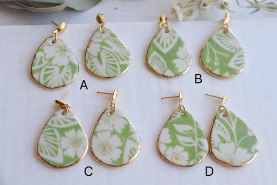 Green medium teardrop floral pattern  porcelain dangle earrings
