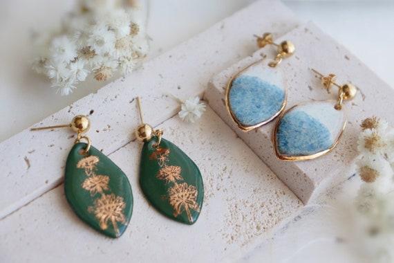 Green golden plants / blue glaze porcelain dangle earrings