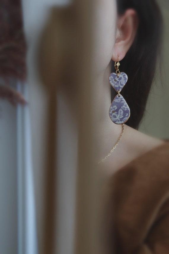 New: purple flowers chandelier porcelain dangle earrings