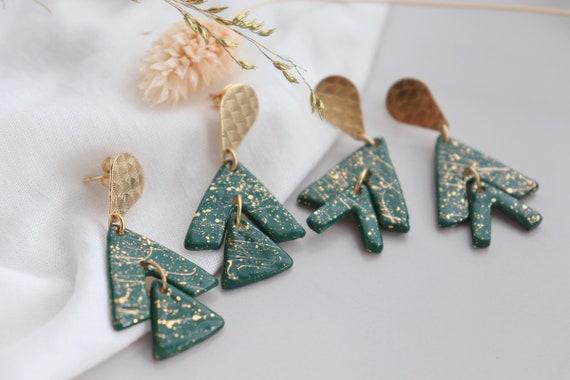 Green tree  porcelain dangle earrings