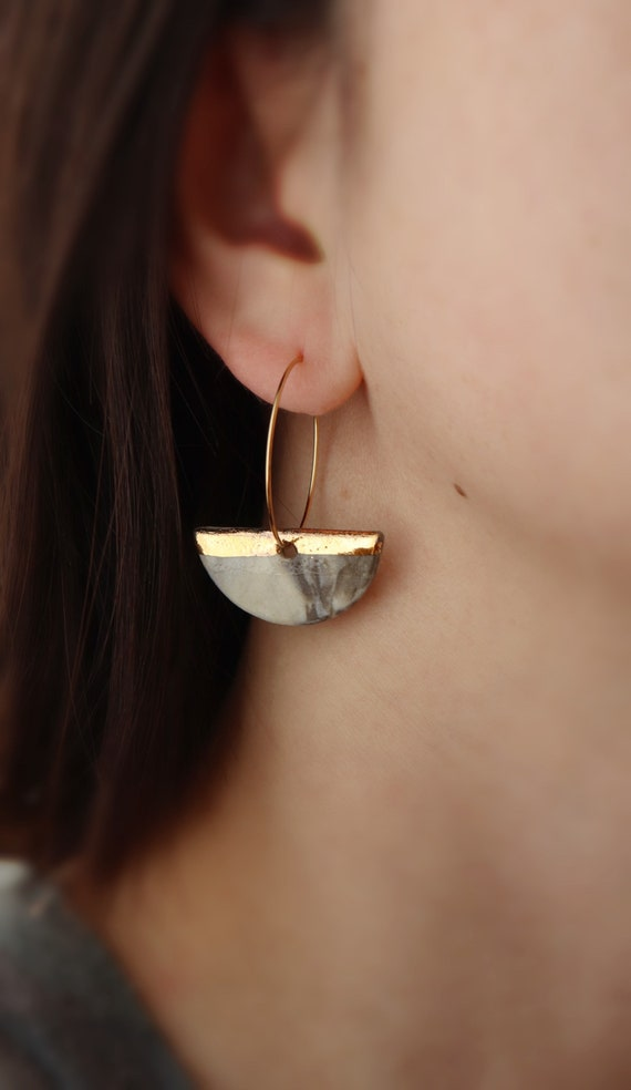 Demi circle Marble  pattern porcelain dangle earrings