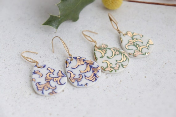 Blue plant veins porcelain dangle earrings