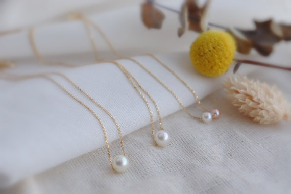 Solid Gold minimal Akoya pearl necklace