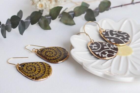 Black clay patterned  porcelain dangling earrings