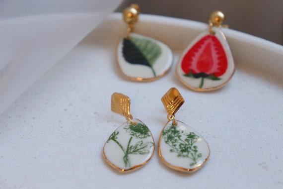 Strawberry& leave / plants porcelain dangle  earrings