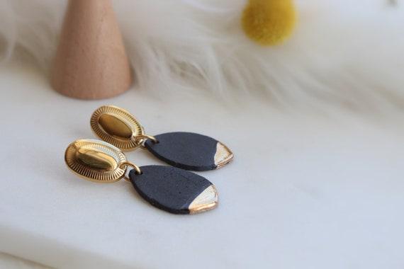 Black matte Dangle Earrings, Statement Jewelry, Dangle Earrings, Gift for her